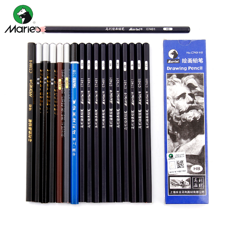 Maries Black Sketch Pencil Professional Drawing Pencil HB 2H B 2B 3B 4B 5B 6B 7B 8B 10B 12B 14B Art Stationery Supplies