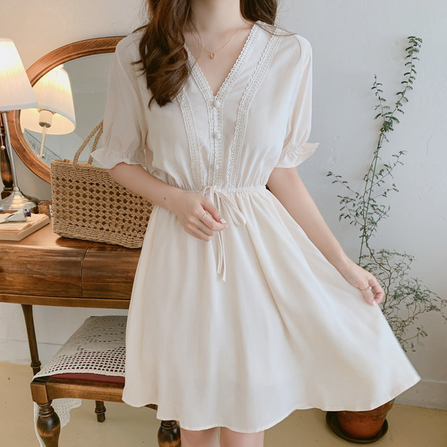 New New Lace up Summer Dress Girls Boho Party Chiffon Female Vintage Dress white Short Sleeve Women Dresses Robe Vestido 3