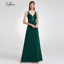 Elegant Dark Green Women Dress A-Line V-Neck Sleevelss Lace Appliques Autumn Maxi Ladies Sexy Party Robe Femme 2019