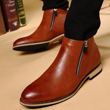 Wysokiej jakości wysokie buty skórzane moda zimowa krótkie buty męskie wysokie formalne Top skórzane buty Gentleman #8217 s Chelsea Boots tanie i dobre opinie SONDR CN (pochodzenie) Szycia Stałe Mesh Wiosna jesień NE2019 -818 Lace-up Niska (1 cm-3 cm) Pasuje prawda na wymiar weź swój normalny rozmiar