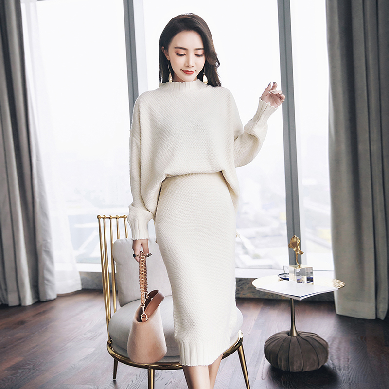 Hot 2019 New Women's Warm Cashmere Sweaters Knitting Package Hip Skirts 2 Piece Sets Auntmun Winter Female Dresses Knitted Suit
