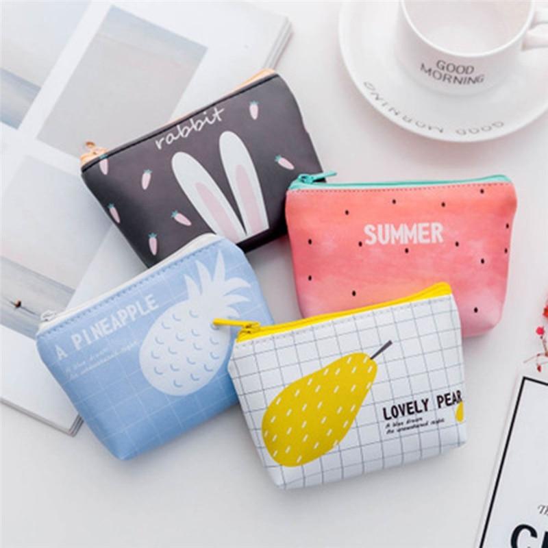 Porte-monnaie de dessin animé pour femmes, porte-monnaie, dessin animé, lapin, pastèque, poire, petit portefeuille, Mini-sac dargent, porte-carte cadeau