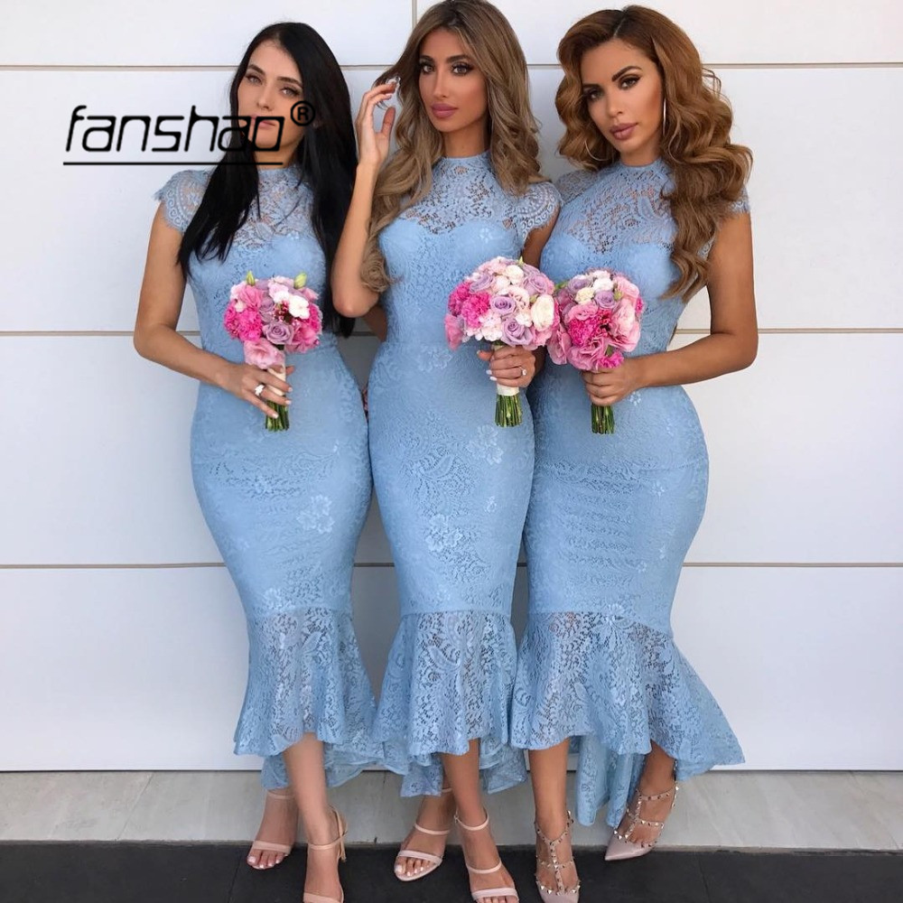 Blue 2019 Cheap Bridesmaid Dresses Under 50 Mermaid Appliques Beaded Wedding Party Dresses For Women New Arrival