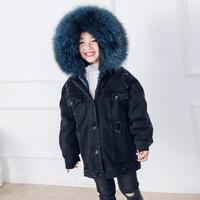 4 12Y Children's Real Fur Coat Kids Fur Jackets Hooded Baby Boy Girl Denim Coat Warm Parka Winter Thicker warm jacket Coat Y1947