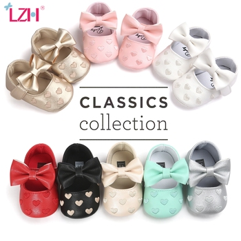 LZH Baby PU Leather Shoes For Girl Moccasins Moccs Bow Love embroidery Fringe Soft Soled Non-slip Footwear Crib - discount item  33% OFF Baby Shoes