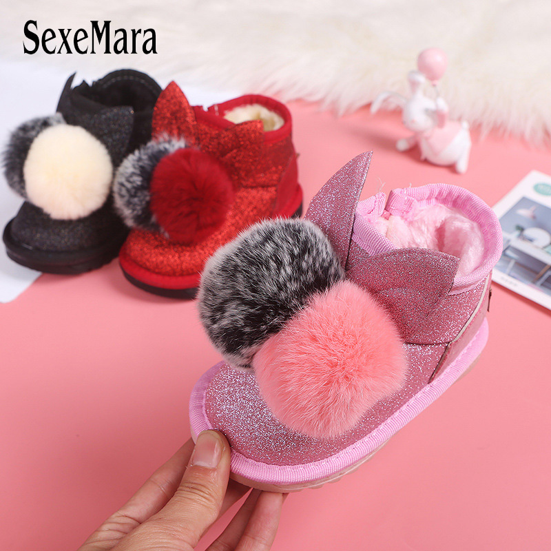 Warm Baby Boots For Girls 2019 New Arrival Rabbit Fur Ball Toddler Boots Baby Girl Cute Bling Infant Snow Boots Newborns B10211