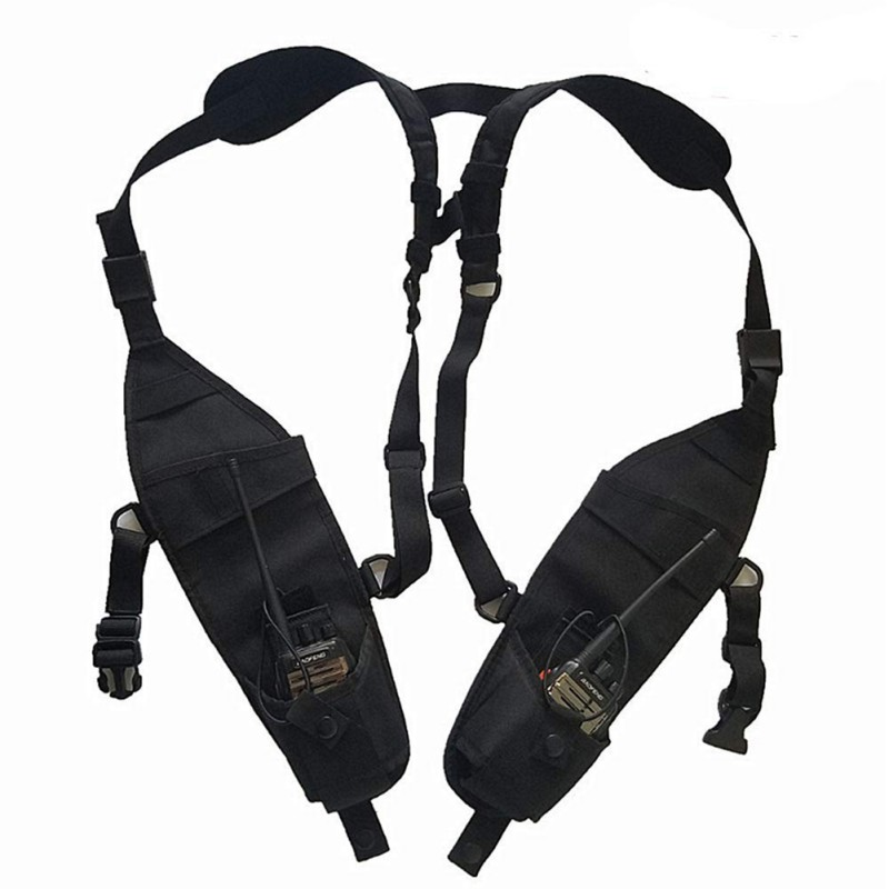 Universal Double Radio Shoulder Holster Chest Harness Holder Vest Rig For Two Way Radio Rescue Essentials
