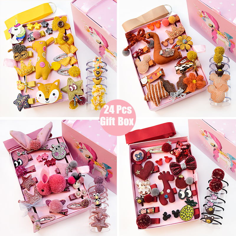 24pcs/Gift Unicorn Pattern Box Set Children Girl Hair Clip Band Cartoon Animals Hair Clips Girls Cute Rabbit Baby Girl Hairpins