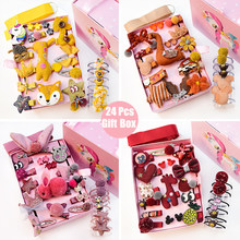 24pcs/Gift Unicorn Pattern Box Set Children Girl Hair Clip Band Cartoon Animals Hair Clips Girls Cute Rabbit Baby Girl Hairpins(China)