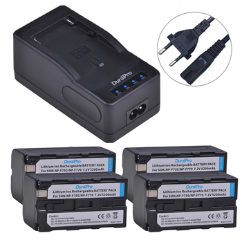 DuraPro 4x5200 мАч NP-F750 NP-F770 батарея камеры + LED быстрое зарядное устройство Универсальная для Sony NP F970, F750, F770, F960, F550, F530, F330, F570