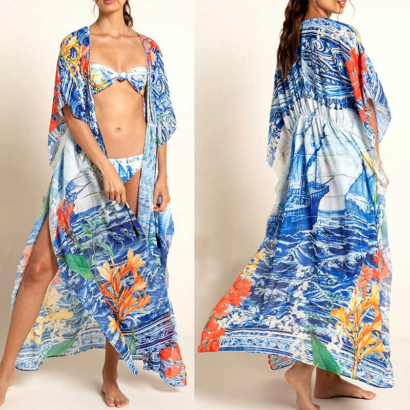 2020 mayo Cover up pamuk baskı plaj Kaftan Bikini Cover up Kimono plage mayo kapak ups Sarong Beachwear tunik