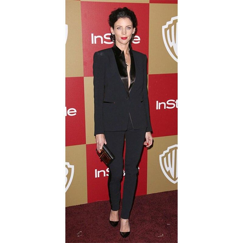 Black Elegant Formal Work Wear 2 Piece Womens Business Suits Blazer Female Trousers Suit Office Uniform One Button Black