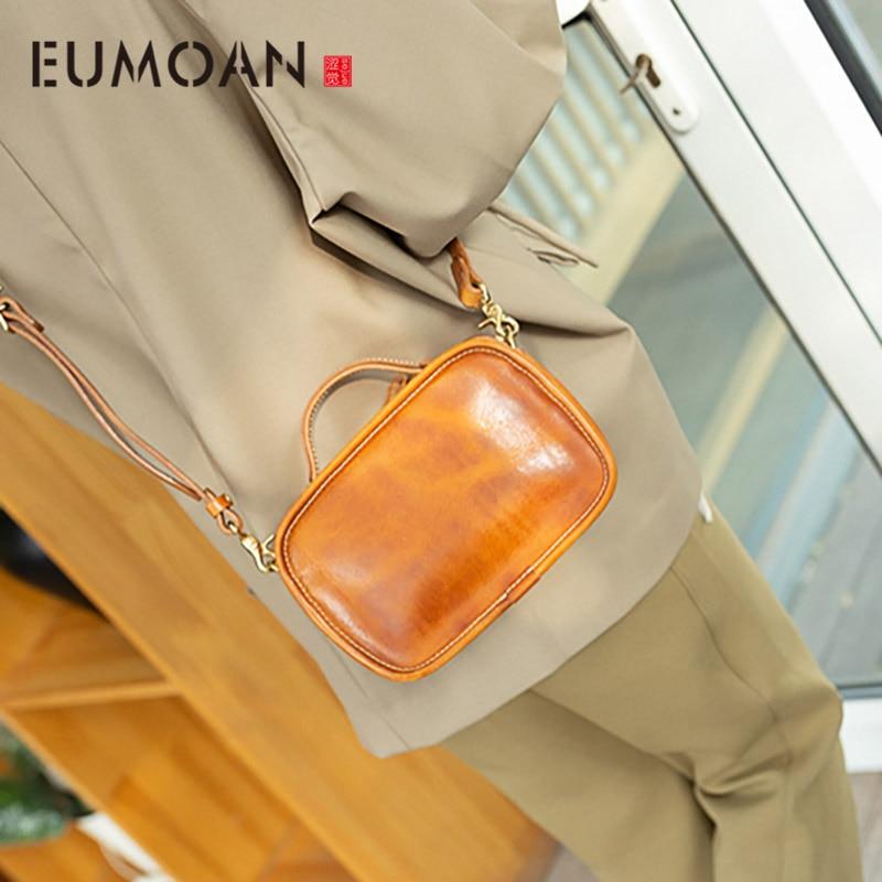 EUMOAN Handmade retro head-layer cowhide small square bag, female oblique cross bag, leather minimalist handbag