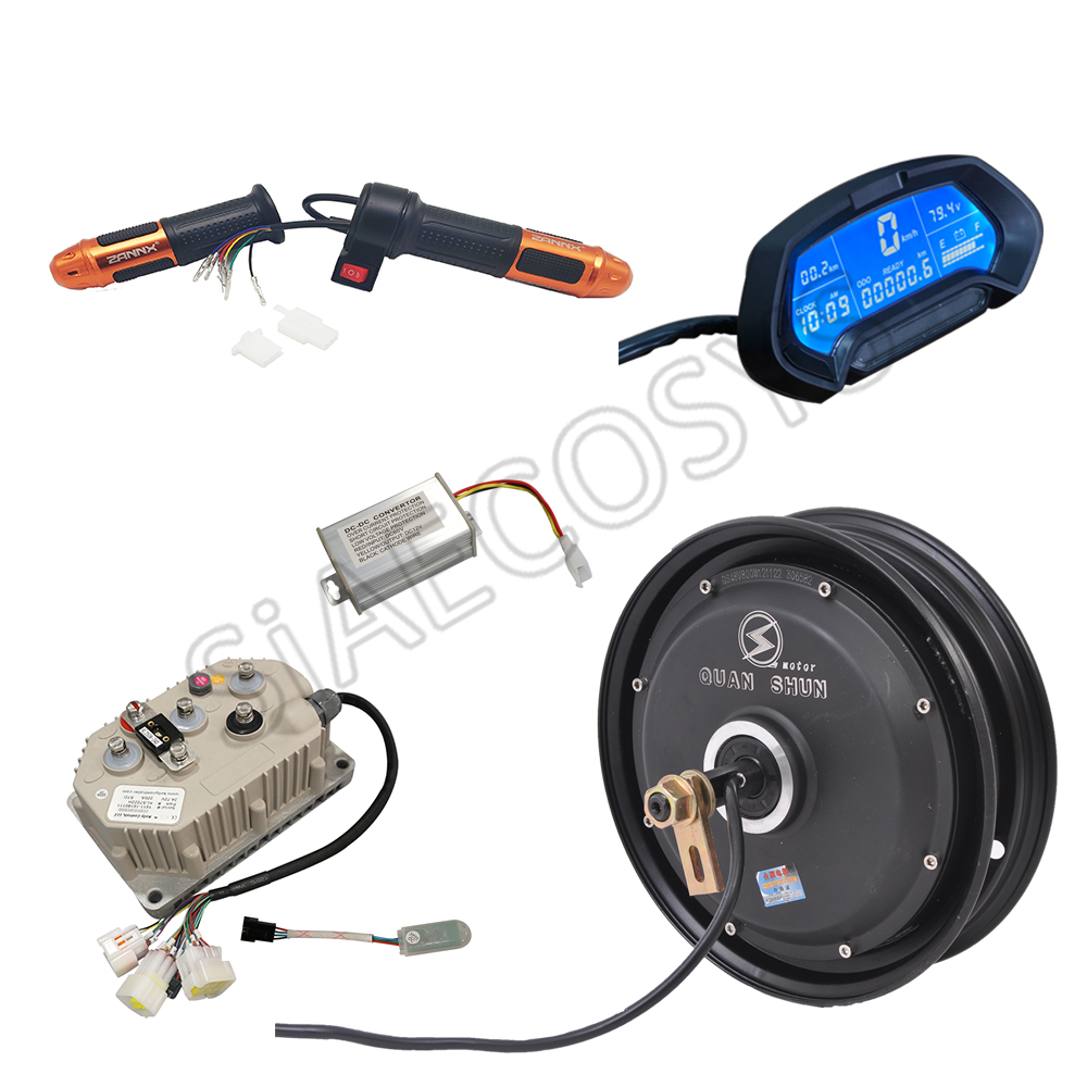 <font><b>QSMOTOR</b></font> 10x2.15inch <font><b>3000W</b></font> 60V 80kph BLDC Hub Motor with QSKLS7230H controller in wheel hub motor kits for Electric Scooter image