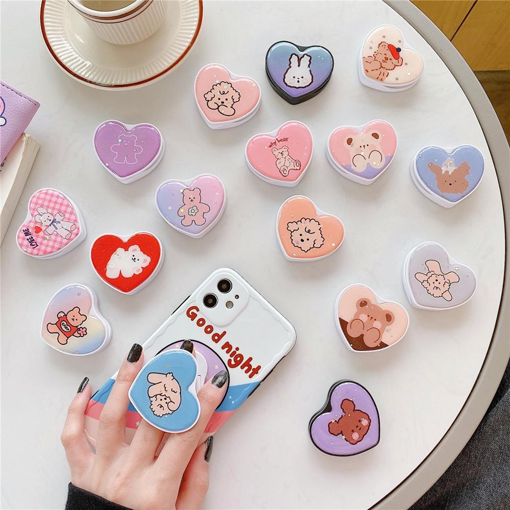 Cute Glitter Cartoon Bear Dog Universal Phone Foldable Holder Expanding Phone Stand Finger Ring Holder For IPhone 11Pro SE 2