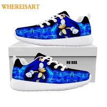 2020 Fashion Children 's Shoes Sneakers Kids Casual Flats Breath Lace -Up Shoes for Kids Boys Girl Pretty Sonic The Hedgehog
