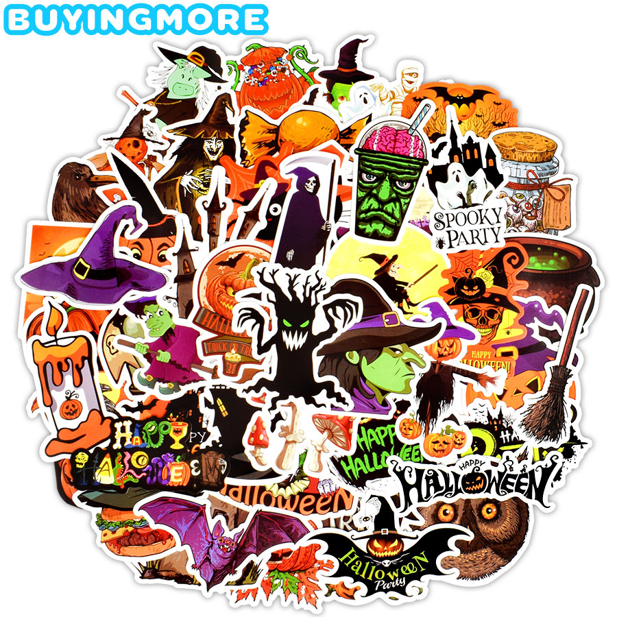 50 PCS Halloween Funny Stickers Gift All Hallow Mas Pumpkin Witch Cute Cool Graffiti Sticker To DIY Notebook Cup Room Decoration
