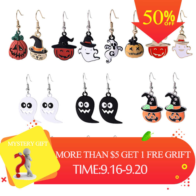 Happy Halloween Pumpkin Flower Skull Earrings Drop Dangle Big Long Fashion Punk Jewelry For Women Girls Ladies Accessories