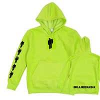 Billie Eilish Appendere Al Neon Con Cappuccio Degli Uomini Delle Donne A Maniche Lunghe non Sorriso A Me Felpa Verde Eilish Merchandising Abbigliamento Alla Moda felpa con cappuccio