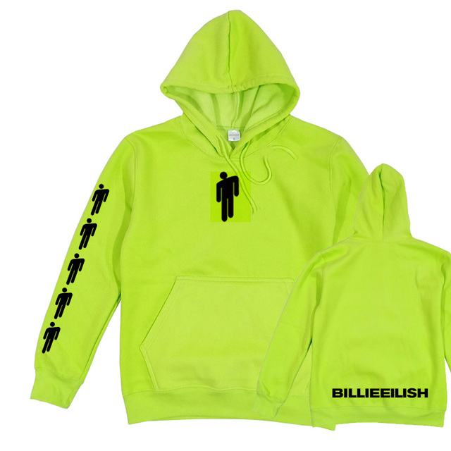 Billie Eilish Hang Neon Hoodie Women Men Long Sleeve Don't Smile At Me Sweatshirt Green Eilish Merch Clothing Trendy Hoody