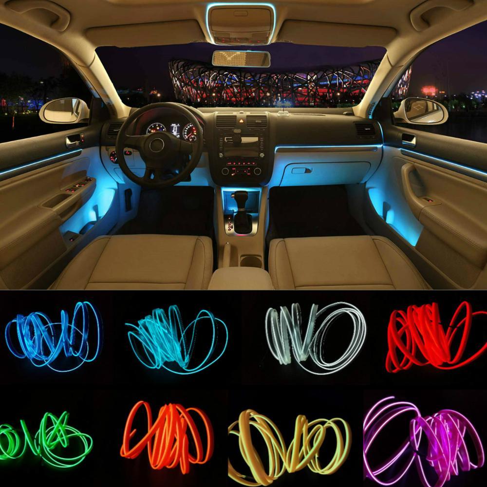 JURUS 5 M 10 Cores Estilo Do Carro DIY Linha EL Frio Tiras de Luz flexível Decoração de Interiores Moulding Guarnição Para A Motocicleta e carros