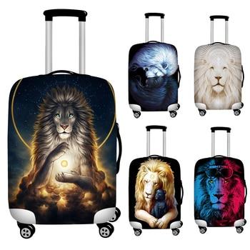 Cubierta protectora para equipaje elástico con estampado de León para maleta con ruedas de 18 -32 funda protectora para equipaje de polvo accesorios