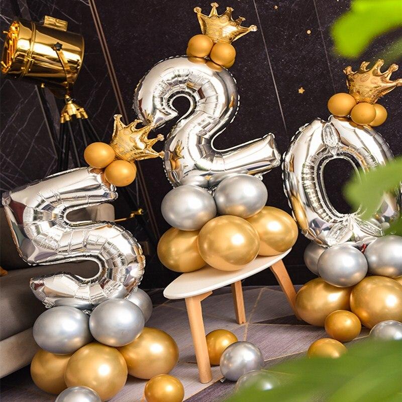 16 Pçs/set Número Um Balão de alumínio de Prata Com Coroa de Ouro polegada 0-9 32 Digital Hélio Ballon Decoração de Casamento Fontes do Partido de Aniversário