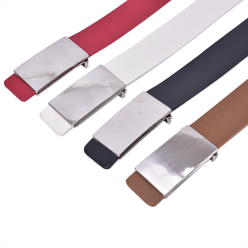 Men Imitation Leather Belt Alloy Automatic Buckle Adjustable Belt High Quality Business Casual Fashion Men Belt Black White Red