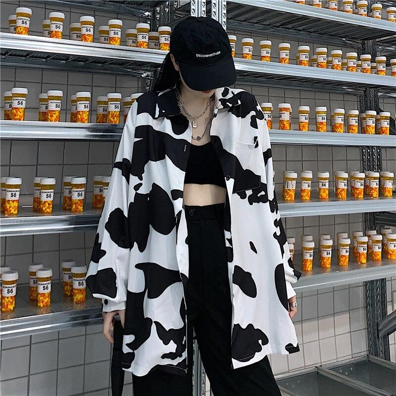 Женские блузки с принтом коровы HOUZHOU, корейский стиль, модная Осенняя рубашка на пуговицах 2021, свободная женская рубашка с длинным рукавом, т...