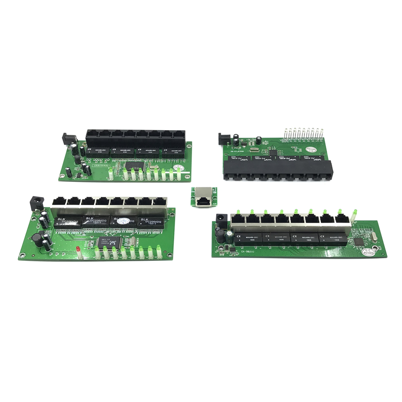 OEM Factory Direct Mini Fast 10 / 100mbps 8-port Ethernet Network Lan Hub Switch Board Two-layer Pcb 2 Rj45 1 * 8pin Head Port