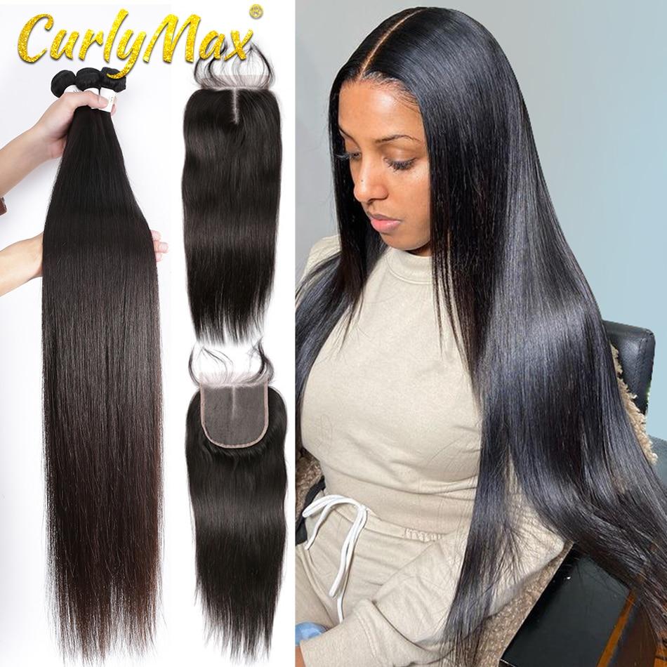 Кудрявые прямые перуанские человеческие волосы 3 4 пучка с закрытием Virgin волосы на шнуровке всего 4 шт./лот наращивание волос