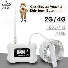 ATNJ AMPLIFICADOR DE señal de teléfono, DCS LTE, 1800Mhz, Boost Voice, 2G, 4G, señal de Internet, ganancia de 70dB, Kit de antena, repetidor