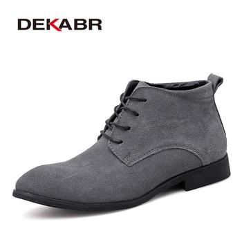 DEKABR Handmade Men Boots Cow Suede Men Casual Fahsion Ankle Boots Brand Outdoor Comfortable Men Chelsea Boots For Men Footwear