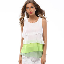 Korean style women sleeveless chiffon blouse xxl womens tops and blouses 2019 plus size shirt fashions