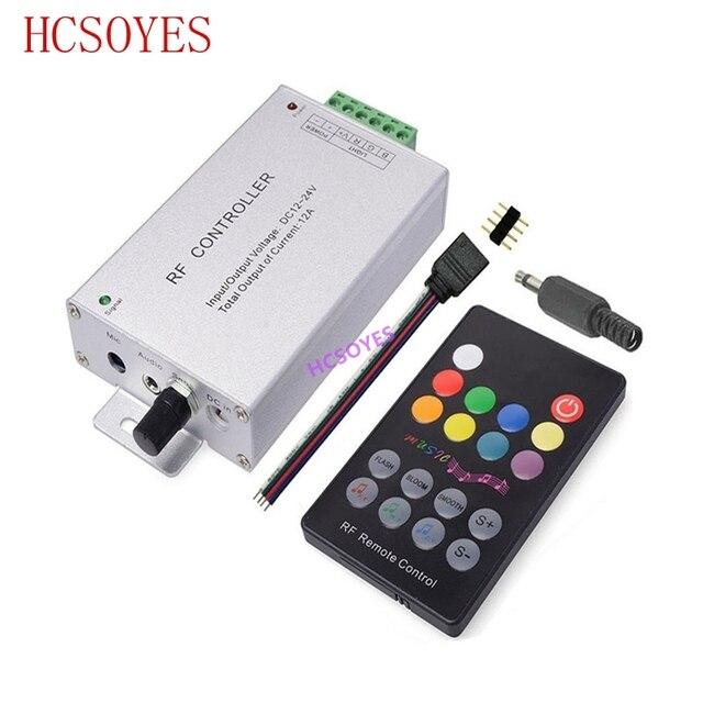 Controlador de música LED RGB DC12V 24V, 18 teclas, Sensor de sonido remoto RF, Control de Audio de voz para tira de luz LED RGB 3528 5050