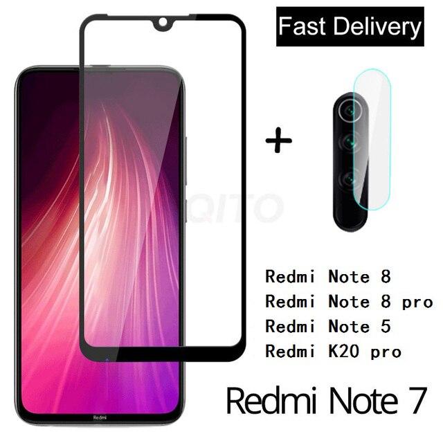 Cristal de Cámara 2 en 1 para Redmi Note 7 8 5 K20 pro protector de pantalla de vidrio templado para xiaomi redmi 6 7 Note 8 7 Pro película de vidrio