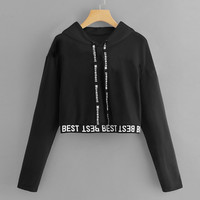 JAYCOSIN Sweatshirt Women Letter Long Sleeve Splice Pullover Hooded Sudadera Mujer Short Tops Women Hoodies moletom толстовка