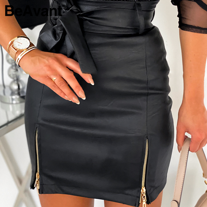 BeAvant High Waist Faux Leather Skirt Ladies Fashion Belt Sash Mini Skirt Elegant Women 2020 Party Club Zipper Split Sexy Skirts