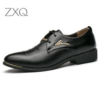 Classic Men Business Oxfords Men Dress Shoes Pointed Toe Soft PU Leather Italian Men Formal Shoes Free Drop Shipping dxkzmcm handmade men flat leather men oxfords lace up business men formal shoes men dress shoes