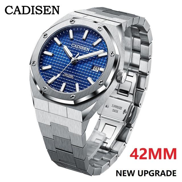 CADISEN New 42MM Men Watches Mechanical Automatic NH35A Blue Watch Men 100M Waterproof Brand Luxury Casual Business Wristwatch 1
