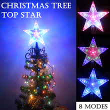 31LEDs 22cm(8.7inch) Water effect star light 8 Flashing Modes LED Pentagram Star Christmas Tree Top Decoration D35