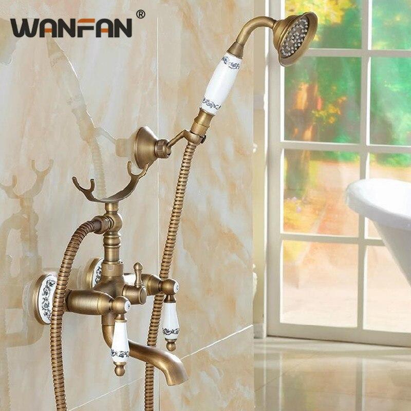 Классический Набор смесителей для душа, смеситель для ванны, античная бронза, Декор, керамика, латунь, настенный смеситель для ванны и душа,