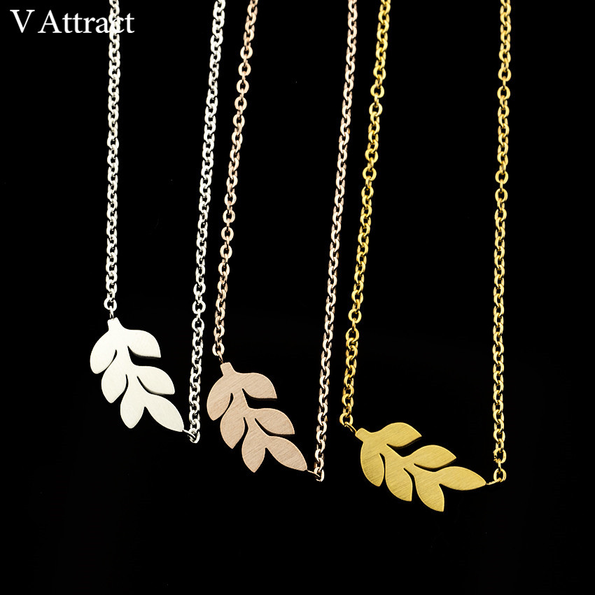 V Attract Handmade BFF Jewelry Stainless Steel Ketting Boho Leaf Necklaces & Pendants For Women Rose Gold Lady Collares Chocker