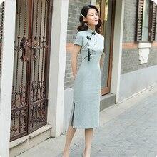 SHENG COCO, современное льняное хлопковое традиционное китайское Ципао, синее платье чонсам, эластичная сила, Cheongsam, улучшение Qi Pao Vestido