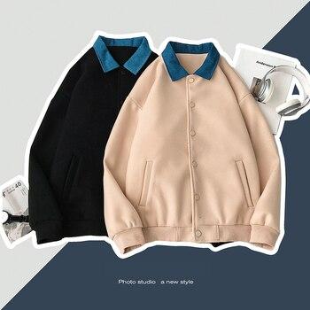 Winter Thick Short Woolen Coat Men Warm Fashion Denim Stitching Casual Woolen Jacket Men Streetwear Overcoat Large Size M-5XL