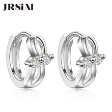 JRSIAL 925 Sterling Silver Jewelry Earrings Woman Korean Fashion Jewelry Inlaid with Zircon Bow Earrings cute long chain silver stud earrings with bling zircon stone for women fashion jewelry korean earrings 925 silver