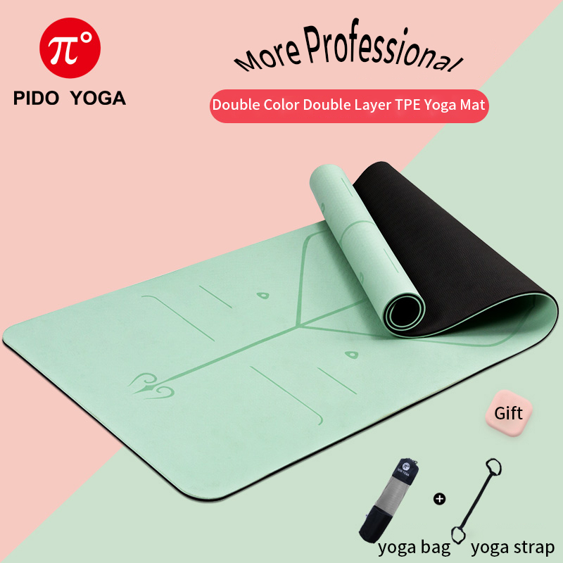 PIDO YOGA 183*61*0.6cm Double Color Yoga Mat With Position Line Thick Hot Yoga Pilates Mats Gymnastics Pranamat Fitness Mat
