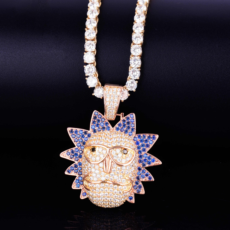 Męska postać z kreskówki twarz wisiorek złota róża Tone Iced Out naszyjnik łańcuch Bling Cubic cyrkon osobowości Hip hop Rock biżuteria