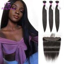 Ультрамодные Красивые бразильские прямые пучки волос с фронтальной кружевной связкой, 100% натуральные волосы с фронтальной кружевной связкой, неremy