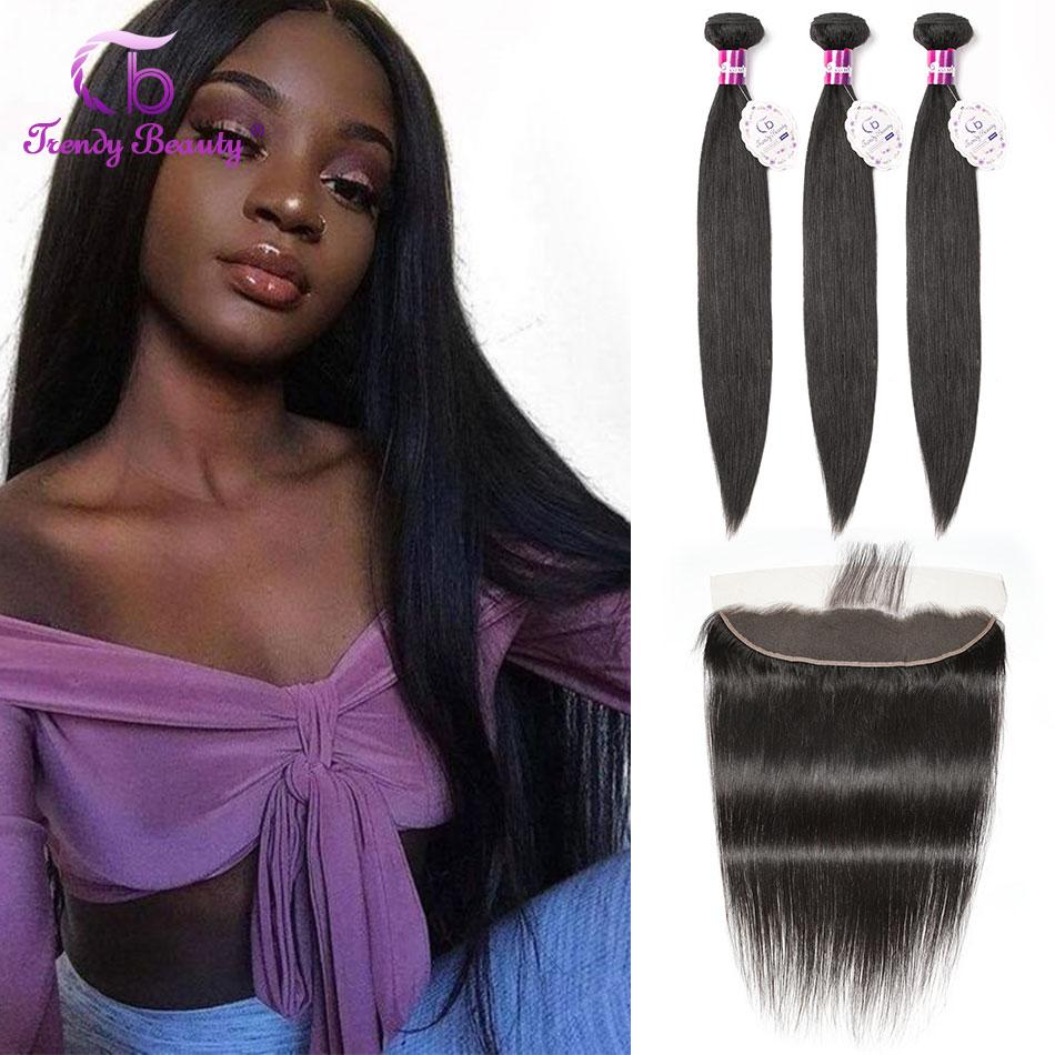 Trendy Beauty Brazilian Straight Hair Bundles With Lace Frontal 100% Human Hair Bundles With Lace Frontal Middle Ratio Non-remy